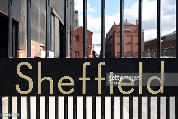 The word 'Sheffield' sits in the entrance gates to Sheffield Forgemasters International Ltd in Sheffield northern England on August 27 2015 Sheffield...