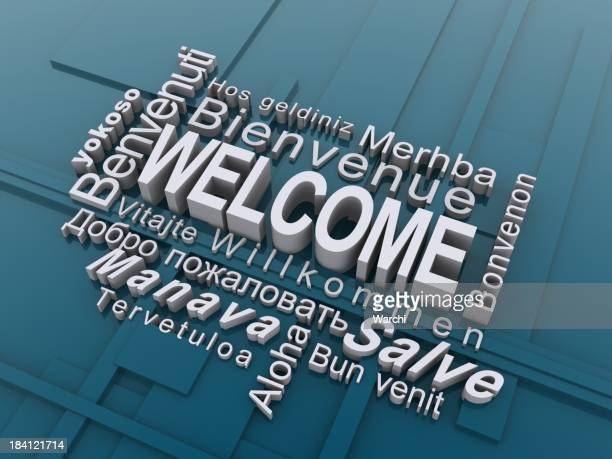 The word welcome in multiple different languages