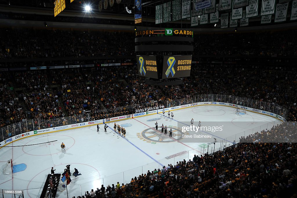 The words 'Boston Strong' and a memorial ribbon for the Boston Marathon bombing are displayed on the jumbo tron before the game of the Boston Bruins against the Buffalo Sabres at the TD Garden on April 17, 2013 in Boston, Massachusetts.