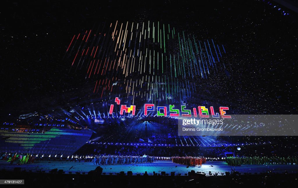 The words 'I'm Possible' are spelt using Tetris tiles during the Sochi 2014 Paralympic Winter Games Closing Ceremony at Fisht Olympic Stadium on March 16, 2014 in Sochi, Russia.