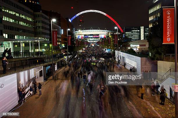 The words 'Liberte Igalite Fraternite' and the colours of the French flag adorn Wembley Stadium ahead of tonight's football match between England and...