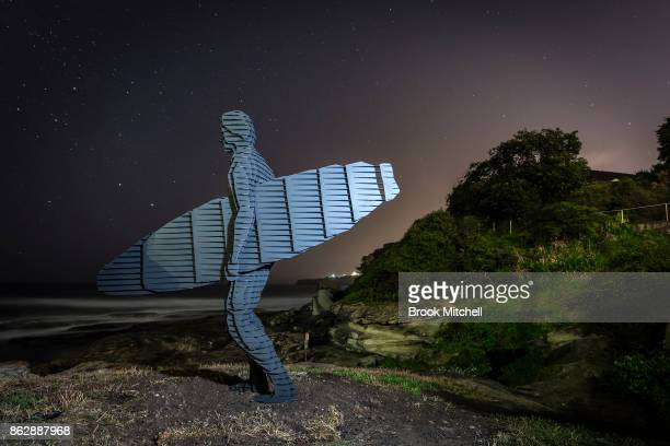 The work entitled 'Trip 1 Trip II Trip III' by April Pine is pictured before dawn at Sculpture By The Sea at Bondi Beach on October 19 2017 in Sydney...