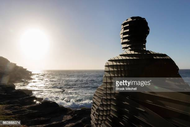 The work entitled 'Trip 1 Trip II Trip III' by April Pine is pictured at sunrise Sculpture By The Sea at Bondi Beach on October 19 2017 in Sydney...