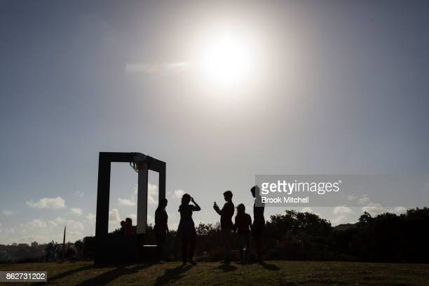 The work 'Phyli' by Paul Selwood at Sculpture By The Sea at Bondi Beach on October 18 2017 in Sydney Australia