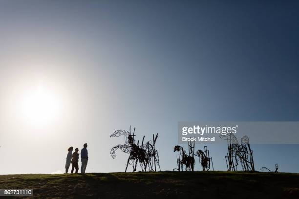 The work 'The Last Charge' by Harrie Fasher at Sculpture By The Sea at Bondi Beach on October 18 2017 in Sydney Australia The work is described as a...