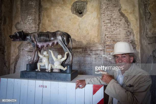 Ugo La Petra in the exhibition 'From Duchamp to Cattelan Contemporary Art on the Palatine' on June 27 2017 in Rome Italy The masters of the...