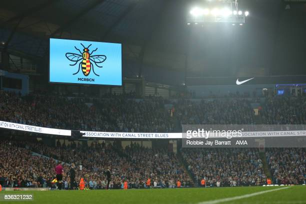 The Worker Bee on the stadium screen to remember the attack on Manchester Arena in May and in Barcelona and Cambrils during the Premier League match...