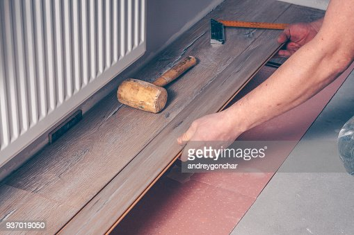 The worker's hand with a hammer mounts the floorboard into place : Stock Photo