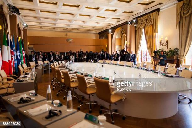 The working table of the world's seven leaders at the G7 Summit expanded session in Taormina Sicily on May 27 2017