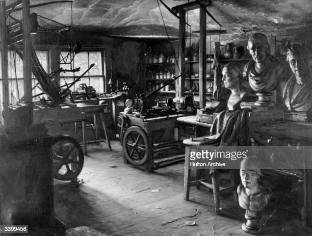 The workshop of Scottish steam engineer and inventor James Watt in Heathfield Birmingham where he spent his time from 1790 until his death Watt was...