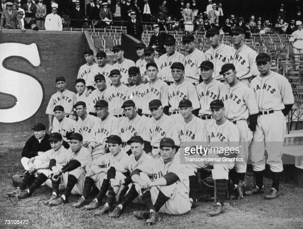 NEW YORK SEPTEMBER 23 1933 The World Champion New York Giants Baseball Club are photographed in the Polo Grounds before a game on September 23 1933...