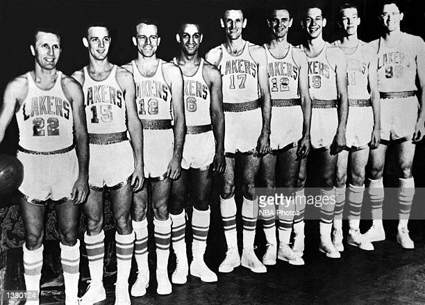 The World Champions of basketball Minneapolis Lakers pose for a team portrait Slater MartinJoe Hutton Frank Saul Bob Harrison Jim Pollard...