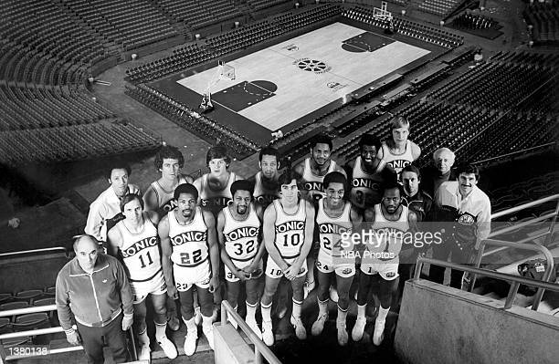 The World Champions of basketball Seattle Supersonics pose for a team portrait in Seattle Washington in 1979 Front row Trainer Frank Furtado Dick...