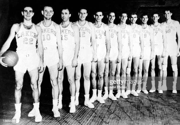 The World Champions of basketball the Minneapolis Lakers pose for a team portrait in 1949 starting from Don Forman Herman Schaefer Don Carlson Don...