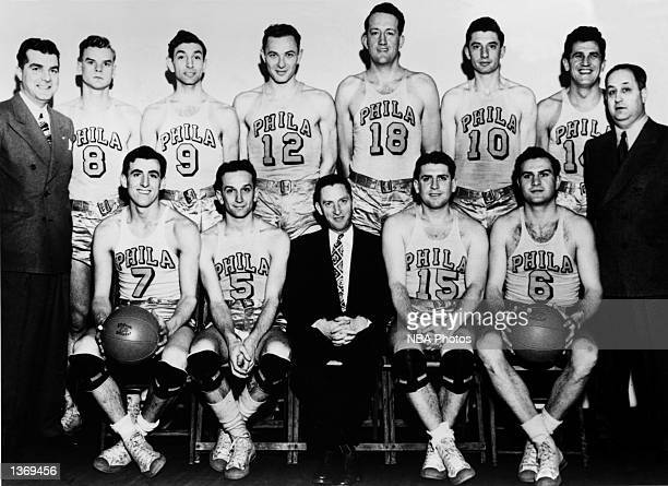 The World Champions of basketball the Philadelphia Warriors pose for a team portrait in 1947 starting in the front row Jerry Rullo Angelo Musi Peter...
