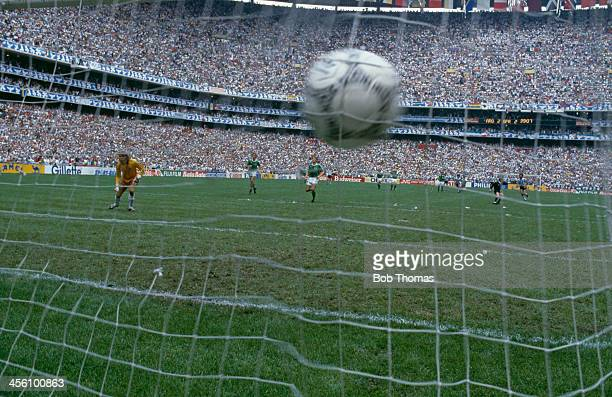 The World Cup Final winning goal from Argentina's Jorge Burruchaga hits the back of the net at the Azteca Stadium Mexico City 29th June 1986...