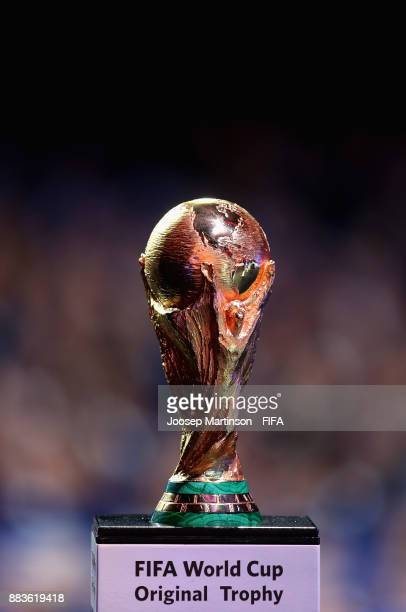 The World Cup is seen during the Final Draw for the 2018 FIFA World Cup Russia at the State Kremlin Palace on December 1 2017 in Moscow Russia