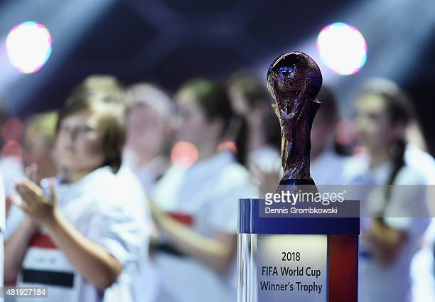 The World Cup trophy is displayed at the Preliminary Draw of the 2018 FIFA World Cup in Russia at The Konstantin Palace on July 25 2015 in Saint...