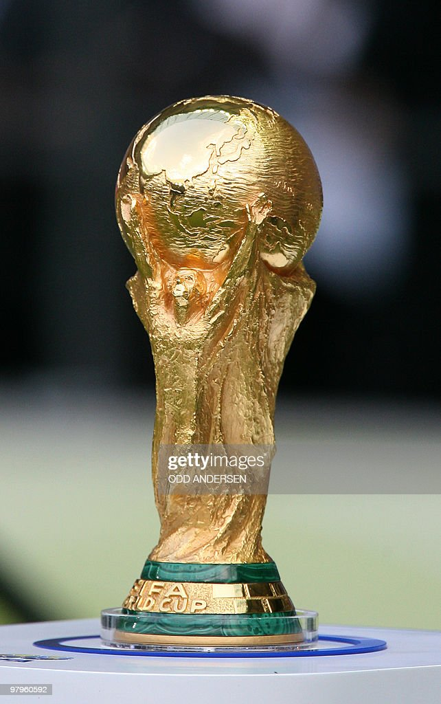 The World Cup trophy is pictured at the start of the World Cup 2006 final football match between Italy and France at Berlin's Olympic Stadium, 09 July 2006.