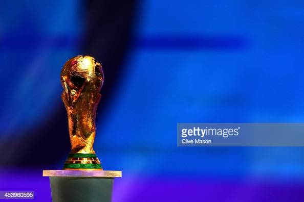 The World Cup trophy on stage before the Final Draw for the 2014 FIFA World Cup Brazil at Costa do Sauipe Resort on December 6 2013 in Costa do...