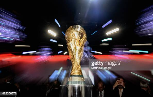 The World Cup Trophy seen during the DFL New Year's Reception 'Anstoss 2015' at Thurn und Taxis Palais on January 27 2015 in Frankfurt am Main Germany
