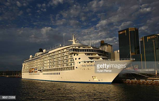 The World Curise Liner which is reported to be carying actor Matt Damon docks at Darling Harbour before the annual New Year's Eve fireworks over...
