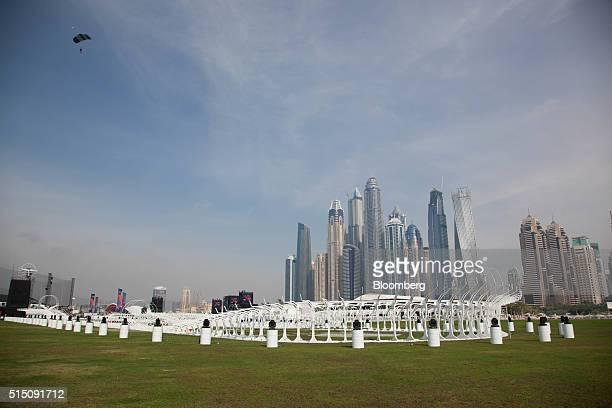 The World Drone Grand Prix track sits in front of Dubai's marina skyline at the World Drone Prix drone racing championship in Dubai United Arab...