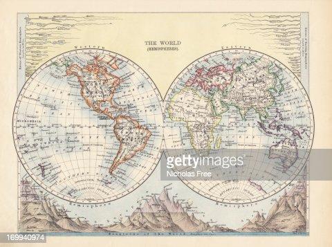 The World Hemispheres Antique Map
