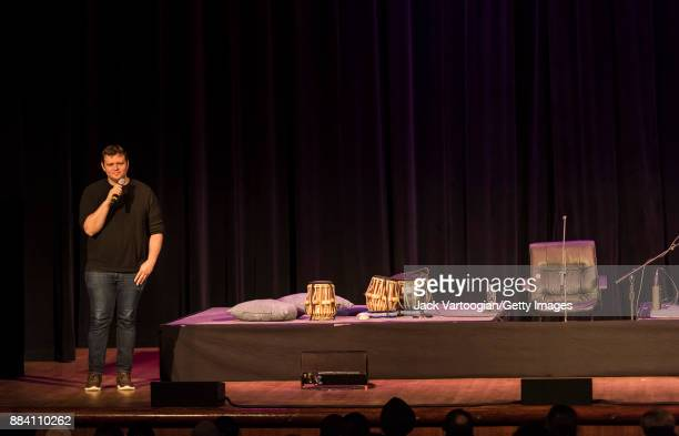 The World Music Institute's Artistic Director Par Neiburger speaks onstage before a concert at the 92nd Street Y's Kaufmann Concert Hall New York New...