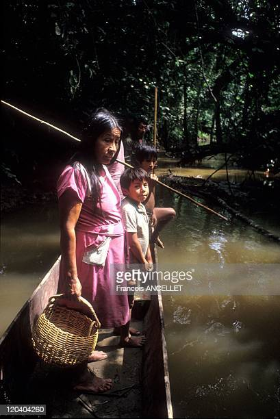 The world of Jivaro Indians in Ecuador in 1992 Return from fishing at the Rio Curaray Achuar ethnic group Ecuadorian Amazon