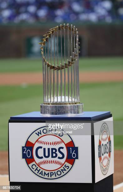 The World Series trophy is seen during a ring ceremony for the Chicago Cubs before a game against the Los Angeles Dodgers at Wrigley Field on April...