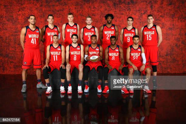The World Team poses for a photo before the BBVA Compass Rising Stars Challenge as part of 2017 AllStar Weekend at the Smoothie King Center on...