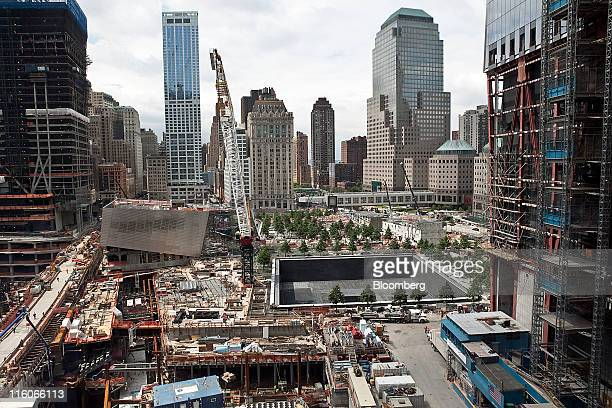 The World Trade Center memorial pool under is seen under construction during the New Downtown Conference in New York US on Tuesday June 16 2011...