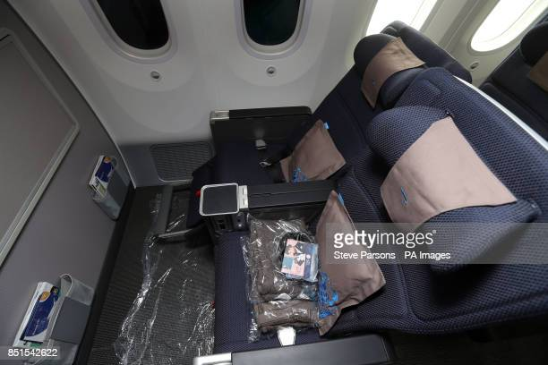 The World Traveler seats of the new British Airways liveried Boeing 787 Dreamliner which has arrived at Heathrow Airport