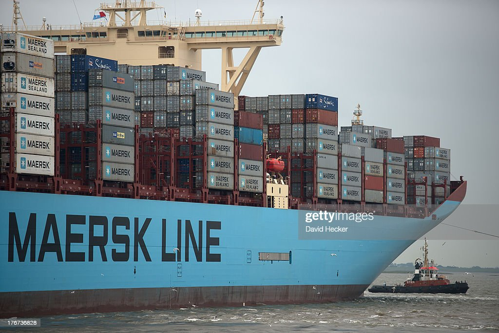 The world's biggest container ship, named the Maersk MC-Kinney Moller, arrives at the port of Bremerhaven, Germany on August 18, 2013. The ship has a length of 400 meters, it is 59 meters wide and is capable of delivering 18.000 TEU Container. The ship carries the first Triple-E Standard (Economy of Scale, Energy Efficiency, Environmentally-improved) and is the most efficient and energy saving container ship in the world.