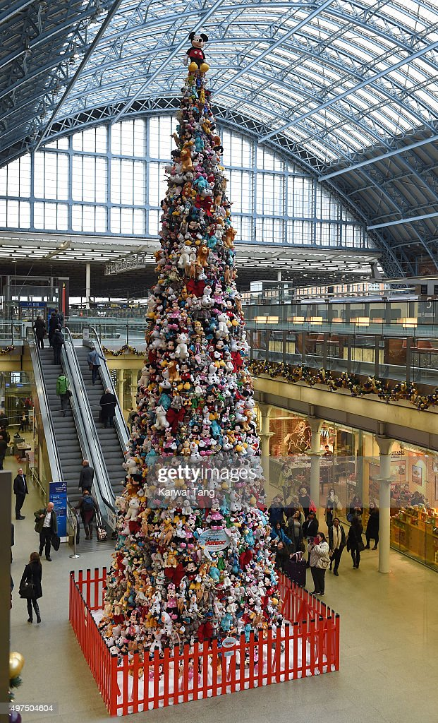 The world's biggest Disney Junior soft toy Christmas tree which has been created using 2000 soft toys stands in London at St Pancras International...