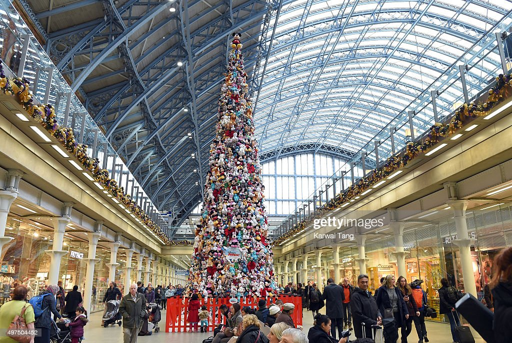The world's biggest Disney Junior soft toy tree which has been created using 2000 soft toys stands in London at St Pancras International Station on...