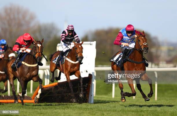 The Worlds End ridden by Adrian Heskin clears the last on the way to victory during the Doom Bar Sefton Novices' Hurdle on Ladies Day at Aintree...