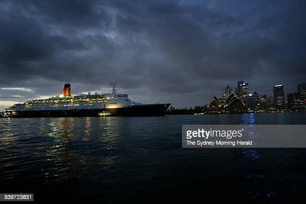 The world's fastest and most famous ocean liner the Queen Elizabeth 2 QE2 arriving in Sydney Harbour at 530 am 15 February 2006 SMH NEWS Picture by...
