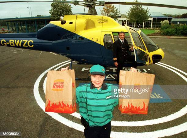 The world's first 'flythrough' burger restaurant has opened to allow helicopter pilots to stop off for a taste of their favourite fast food Pilots...