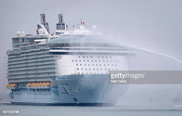 The world's largest cruise ship 'Oasis of the Seas' arrives in Southampton Water on October 15 2014 in Southampton England The £800 million Royal...