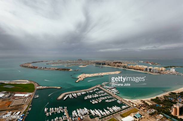 The world's largest manmade island the Palm Jumeirah and Atlantis Hotel are seen on February 8 2017 in Dubai United Arab Emirates Photo by Jumana...