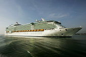 The world's largest ocean liner the 'Liberty of the Seas' arrives at the Port of Southampton on April 22 2007 in Southampton England The enormous...