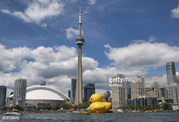 The worlds largest rubber duck pictured along the skyline of Toronto Ontario Canada on July 03 2017 The giant rubber duck visited the city of Toronto...