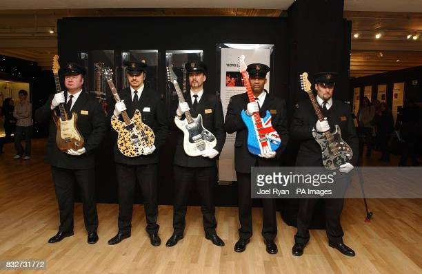 The Worlds most valuable electric guitars arrive at Harrods London as security guards hold Rory Gallagher's signature 1961 Fender Stratocaster Keith...