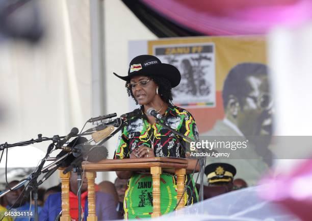 The world's oldest leader Zimbabwean President Robert Mugabe's wife Grace Mugabe speaks during the celebration of Mugabe's 93rd birthday organised by...