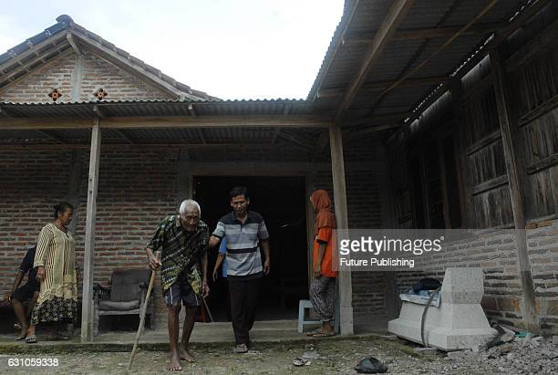 The worlds oldest man Saparman Sodimejo known as Mbah Gotho who is 146 years old celebrates his 146 birthday at his home town on January 3 2017 in...