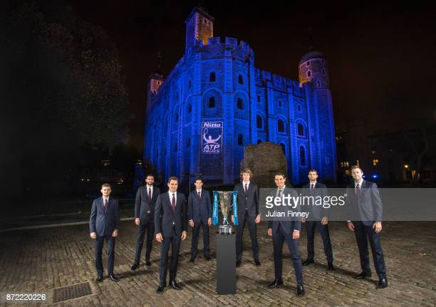 The WorldÕs top eight players attend the 2017 Nitto ATP Finals Official Launch presented by Moet Chandon at the Tower of London David Goffin of...