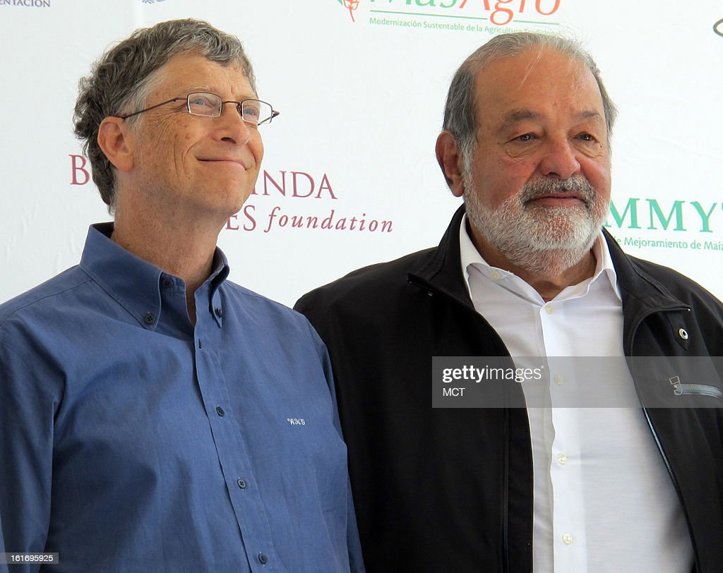 The world's two richest men, Bill Gates (left) and Carlos Slim, seen at an event in Texcoco, Mexico, on February 13, 2013, are occasionally teaming up in their philanthropic ventures.