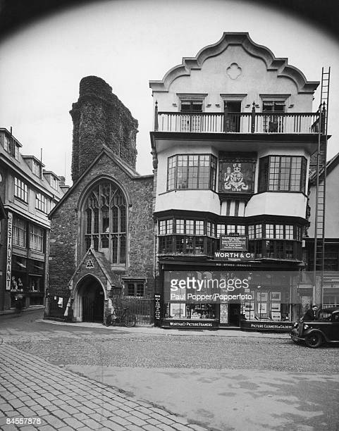 The Worth Co picture framer's shop in the 16th century Mols Coffee House in the Cathedral close Exeter Devon circa 1935